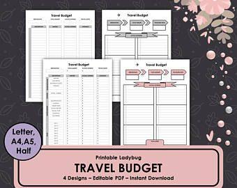 printable travel budget travel journal travel budget planner