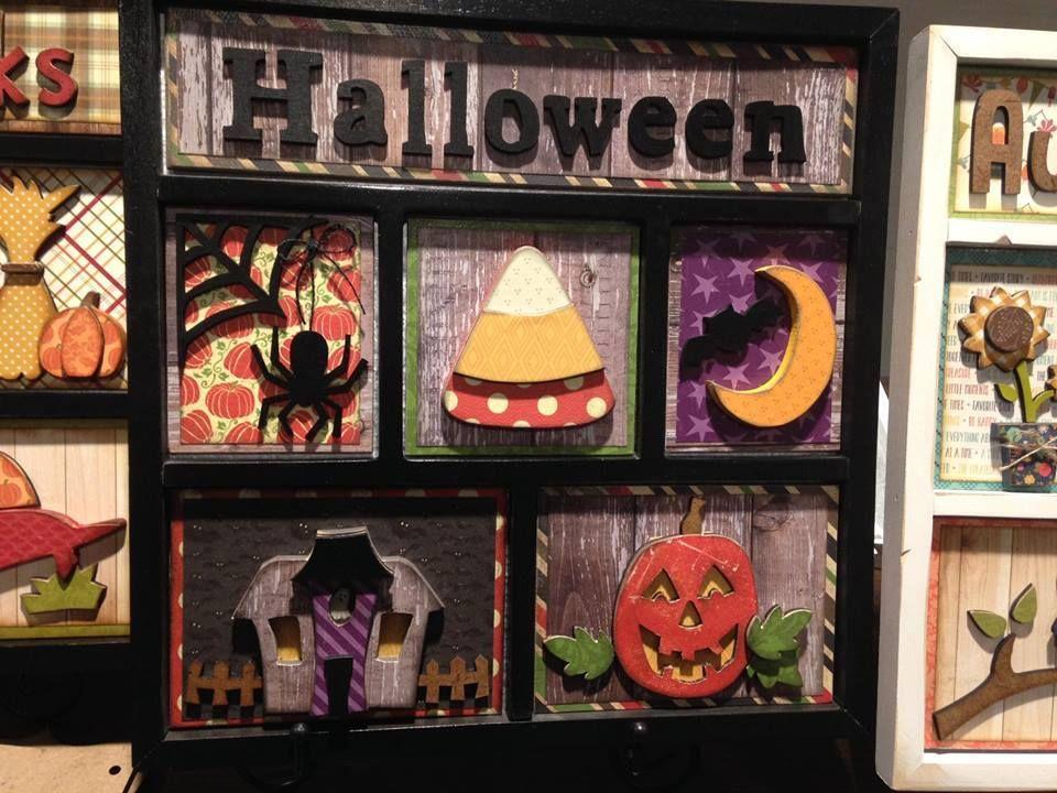 Halloween Shadowbox DIY wood decor. Simple Pleasures Rubber Stamps ...
