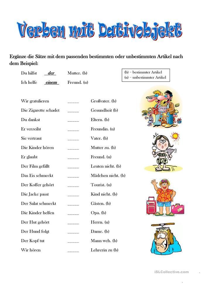 Verben mit Dativ | German language learning, German language and ...