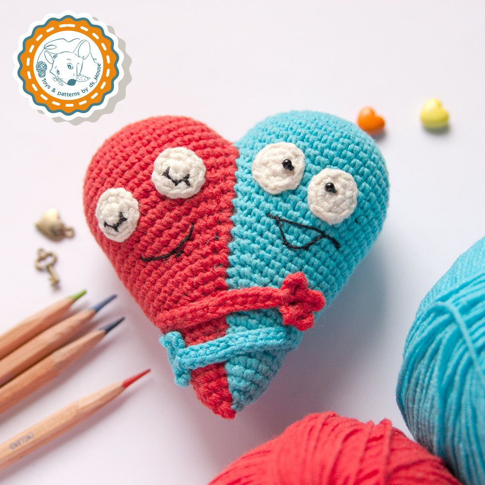 PATTERN -Double Heart - crochet pattern, amigurumi pattern ...