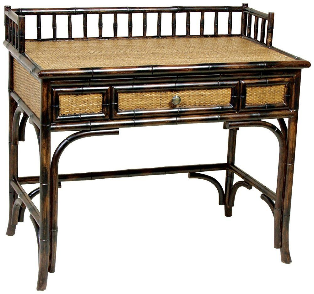 Amazon Com Rattan Writing Desk Home Office Desks Rattan British Colonial Decor British Colonial Style