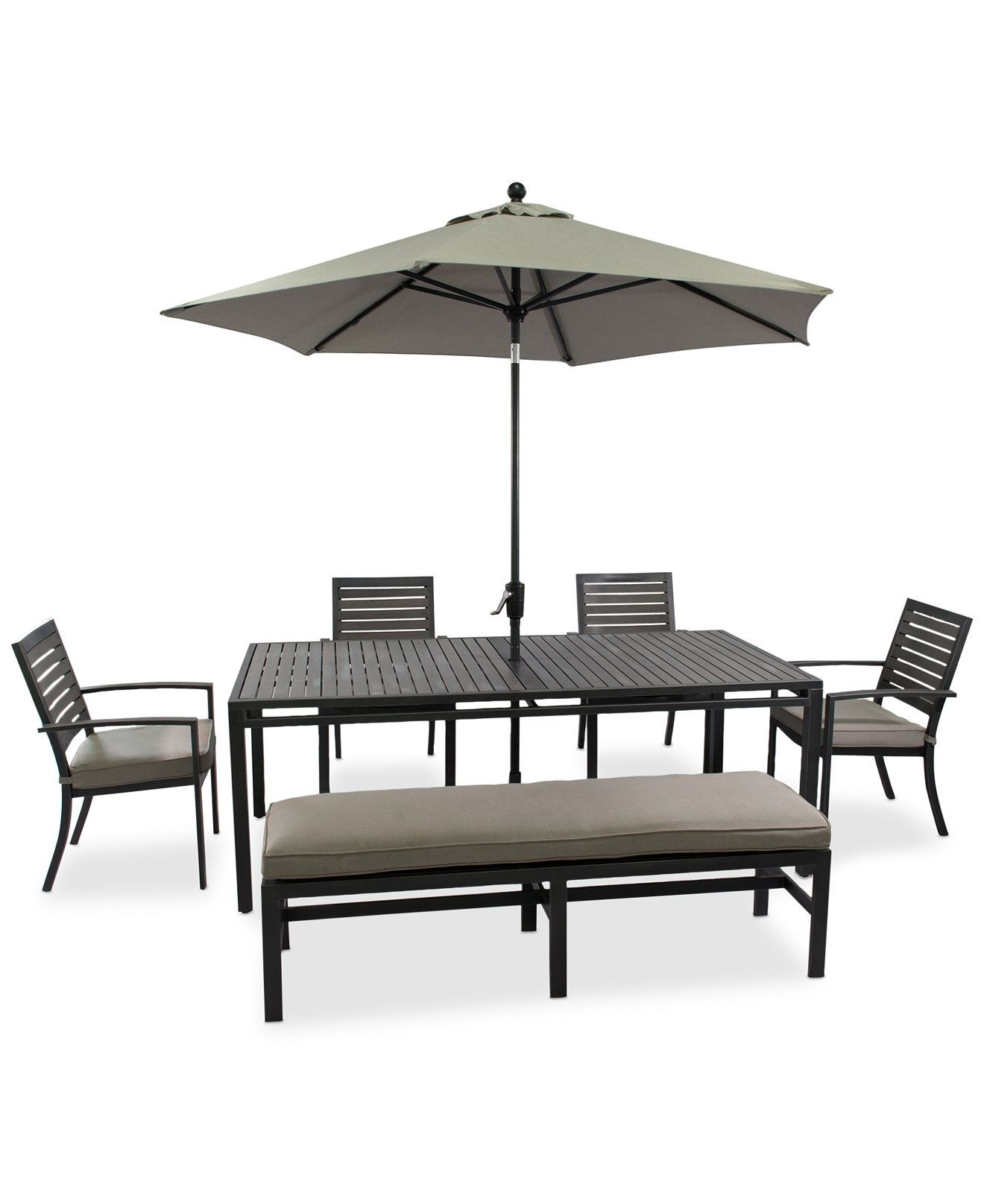 "CLOSEOUT Marlough Outdoor Aluminum 6 Pc Dining Set 84"" x 42"