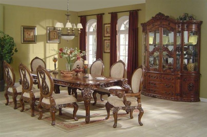 Dining Room Cream Dining Chair Woodentable Flower Vase Candle Holder Dark Brown Curtain Glass Window Carpet Curio Cabinet Green Plant Painting Plate Fruit Ways on How to Arrange Your Beautiful Dining Room