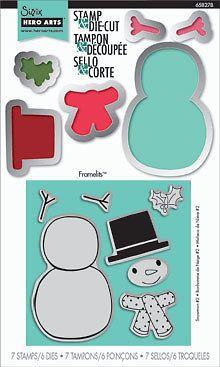 Sizzix Hero Arts Snowman # 2 Stamp /& Die-Cut Set ~ 7 Stamps /& 6 Dies ~ 658278