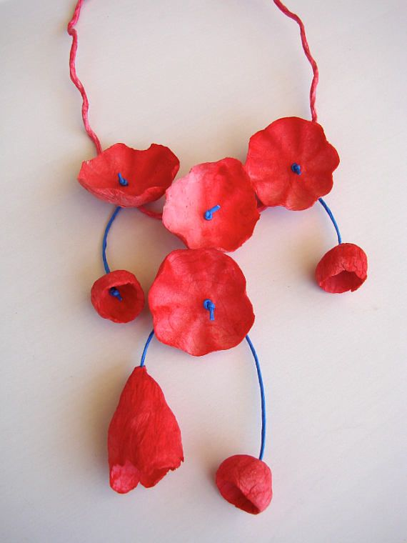 Red Electric Blue Statement Necklace Paper Necklace Eco