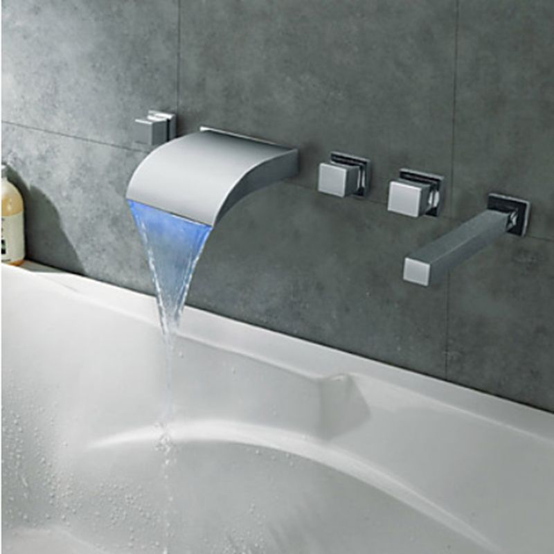 Modern LED Changing Bathroom Tub Faucet Hot And Cold Water Tap Deck ...