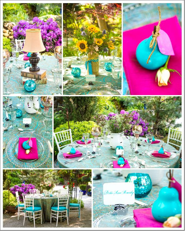 Turquoise Fuchsia Wedding: Romantic Outdoor Wedding Photo Shoot With Turquoise And