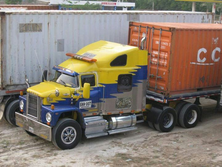 Old Yellow Blue Gray Dodge With Images Dodge Trucks Big Rig