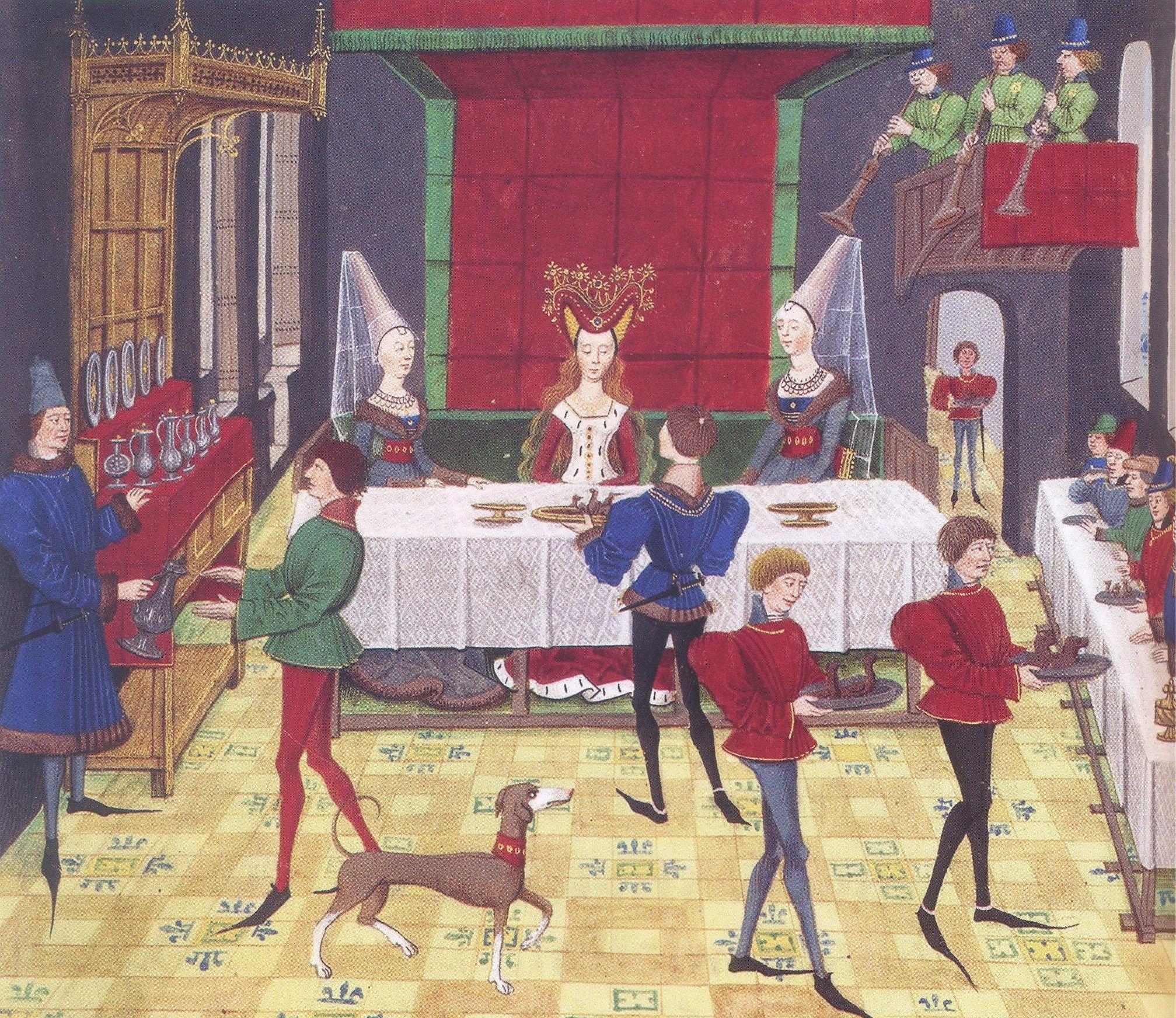 Repas de noce Histoire de Renaud de Montauban, Bruges, 1468-1470 Paris, BnF, Arsenal, manuscrit 5073 fol. 148