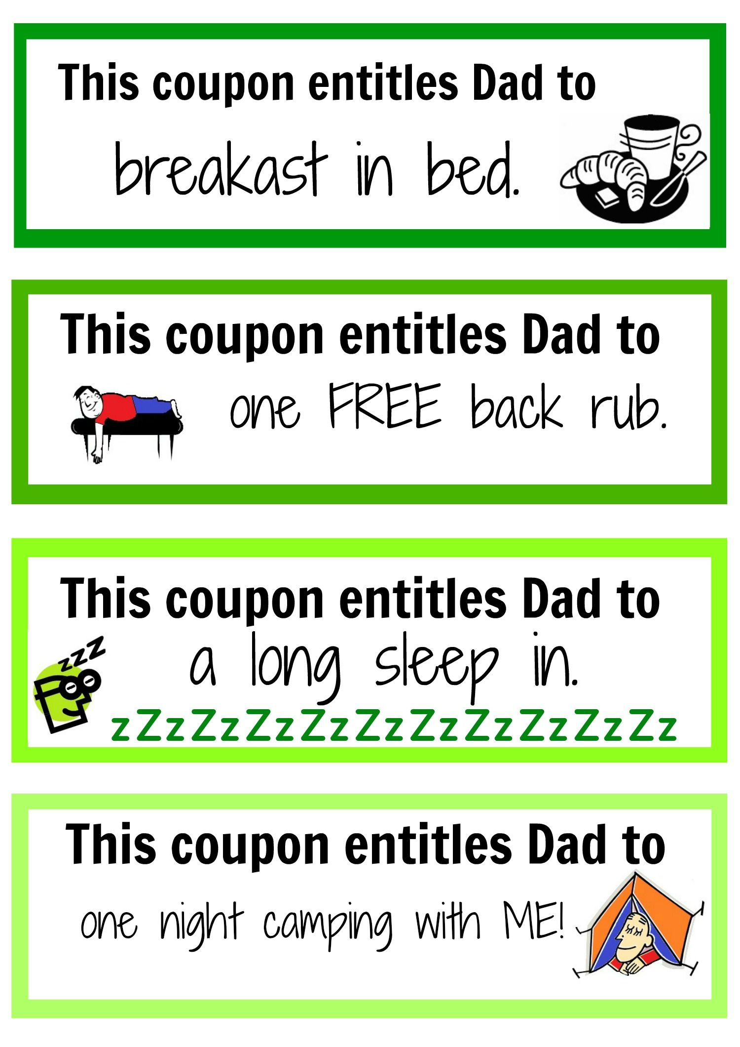 Father\'s Day coupon booklet | Free printable, Father and Coupons