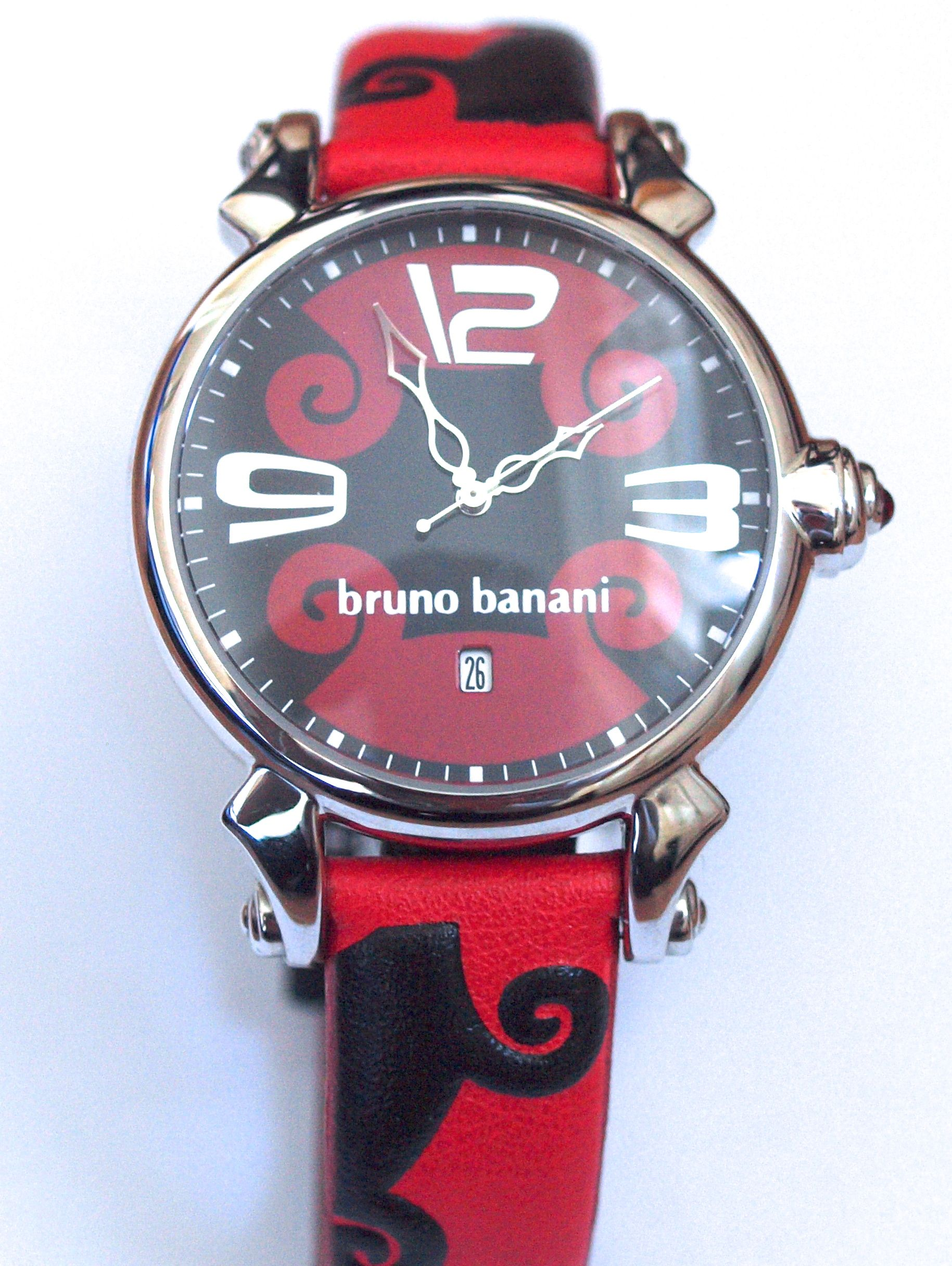 Red and Black Bruno Banani ladies' watch with date. From €100 for €49. See more at - http://www.megawatchoutlet.com/dames/bruno-banani.html