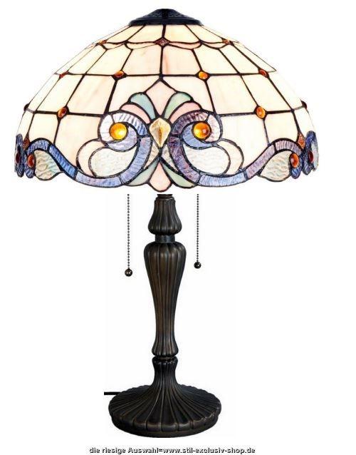 40 tiffany tisch lampe lyon 40 cm hoch 2x e27. Black Bedroom Furniture Sets. Home Design Ideas