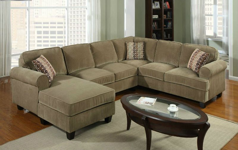 3pcs Corduroy Fabric Sectional Sofa In Camel Finish