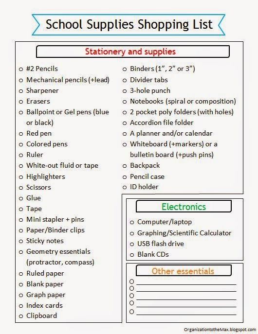 image about Office Supplies Checklist Printable named Pin through Krista Ritchie upon Higher education listing Cost-free higher education materials