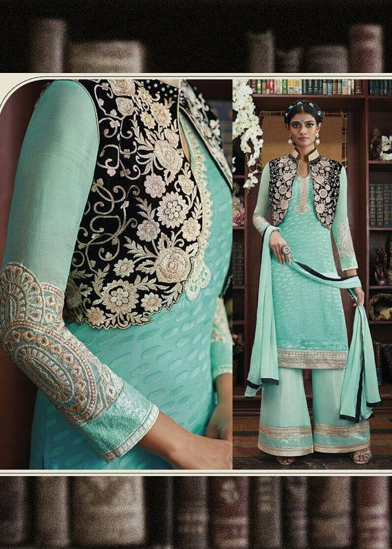 Sky Blue color Heavy Pudding Net fabric Designer Suit - Salwar ...