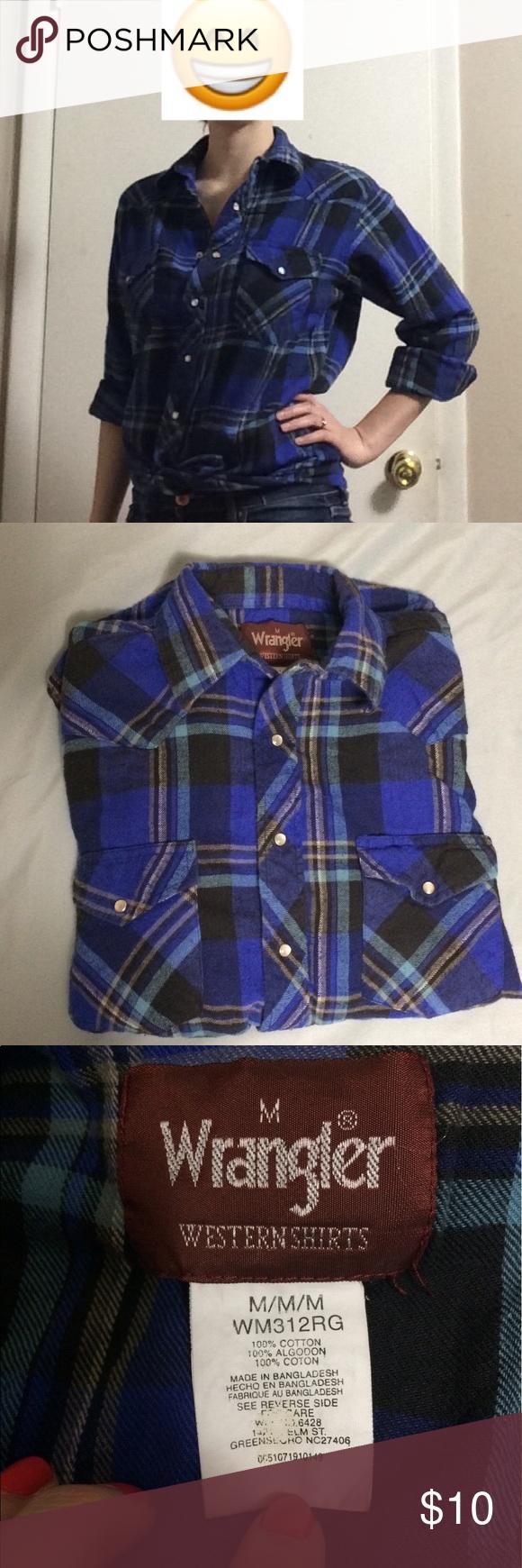 Red flannel unbuttoned  Unisex Wrangler Blue Plaid Flannel Shirt  Plaid flannel Blue plaid