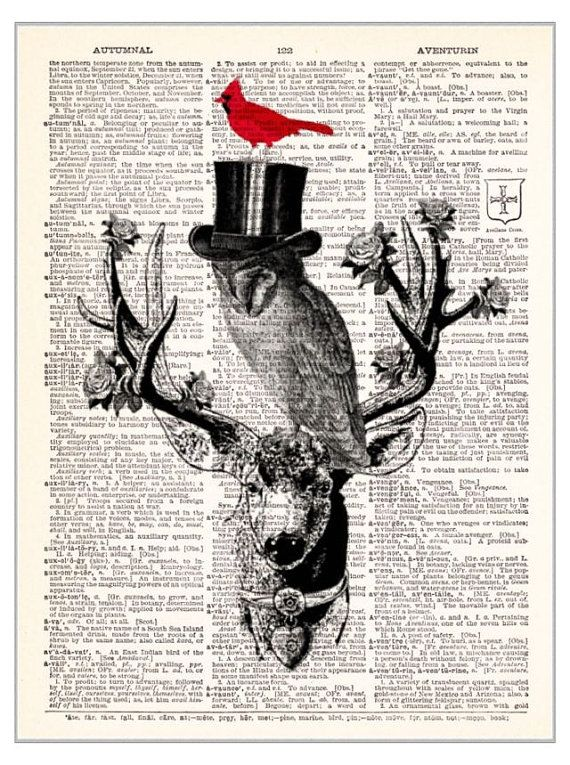 20.32 x 25.4 cm Unframed Deer in Tuxedo Kids Bedroom Decor Fun Wall Decor Upcycled Wall Art Vintage Dictionary Art Print 8x10 inches