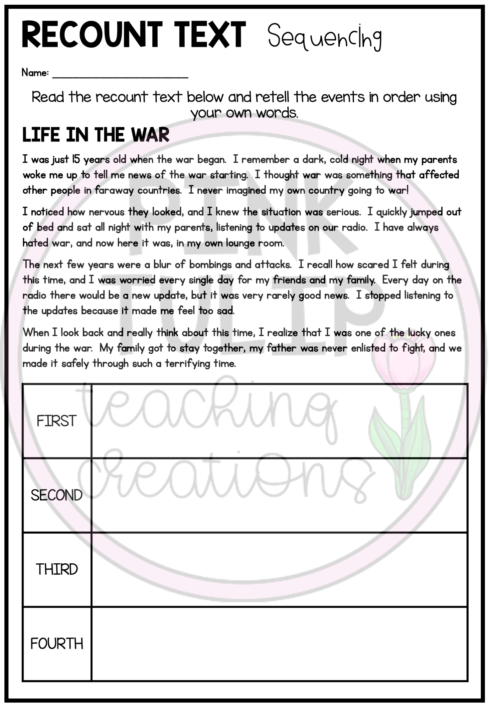 Recount Text Writing Worksheet Pack