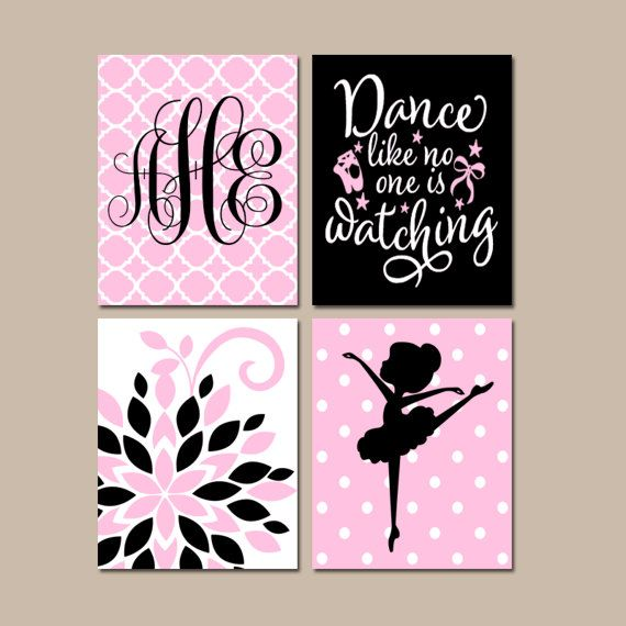 Ballerina Wall Art ballerina wall art, hot pink black baby girl nursery artwork
