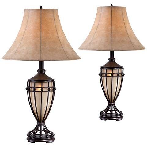 Cardiff Brushed Iron Night Light Urn Table Lamp Set Of 2 Sets And