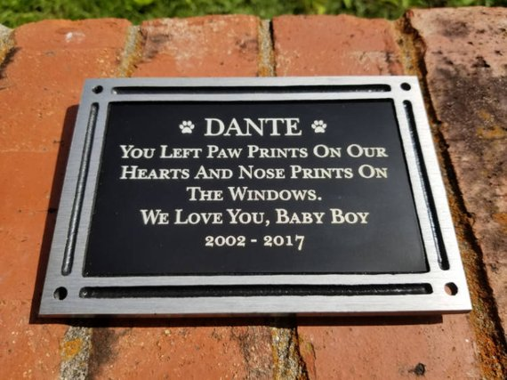 Personalized Engraved Pet Memorial Outdoor Plaque W Screws