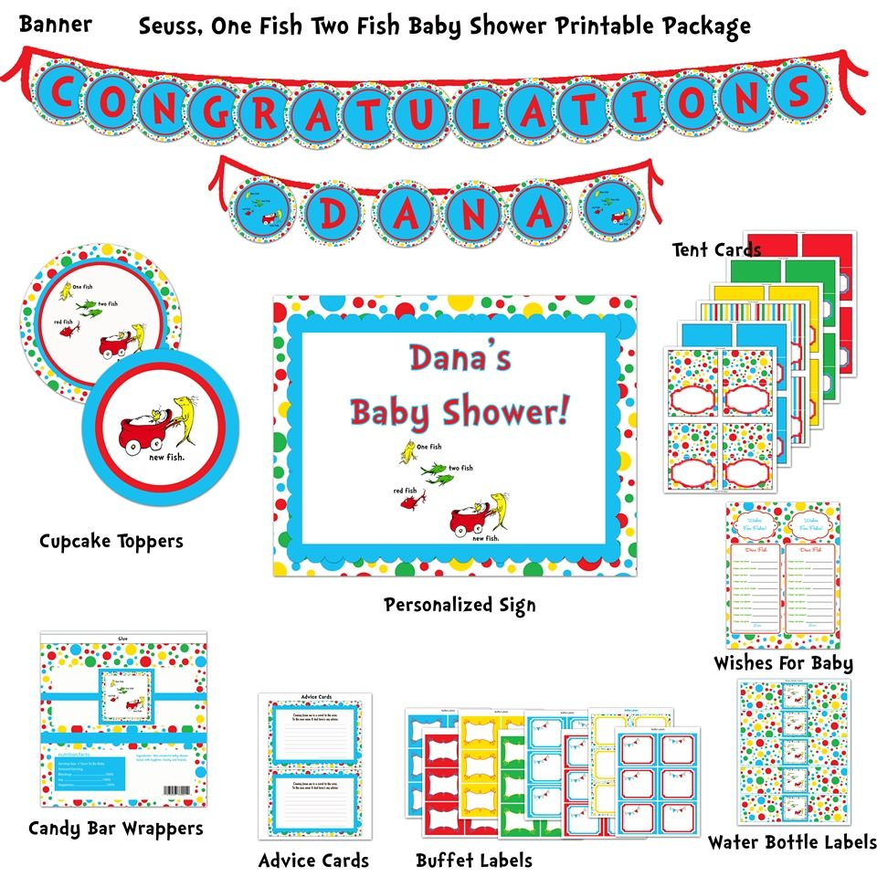 Dr. Seuss 1 Fish, 2 Fish, New Fish Baby Shower Printable Package ...