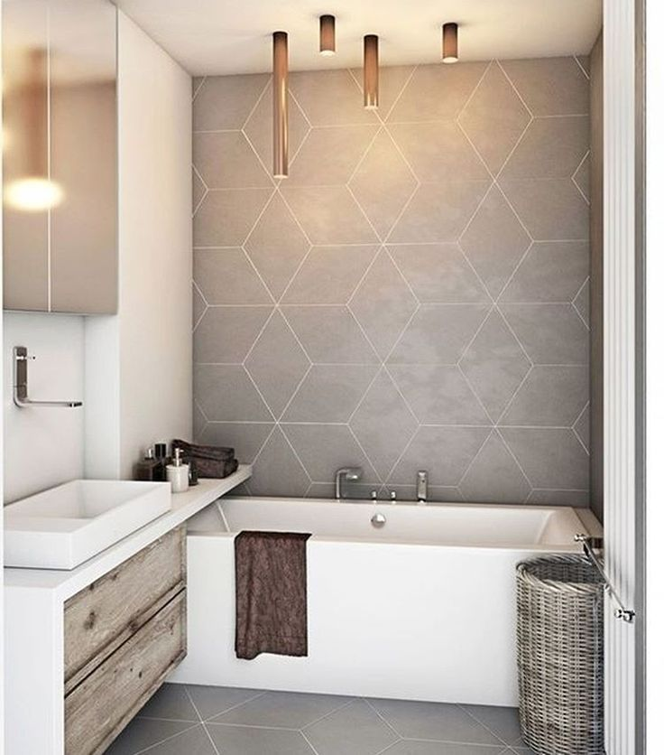 Modern Bathroom / Large Scale Rhombus Tile