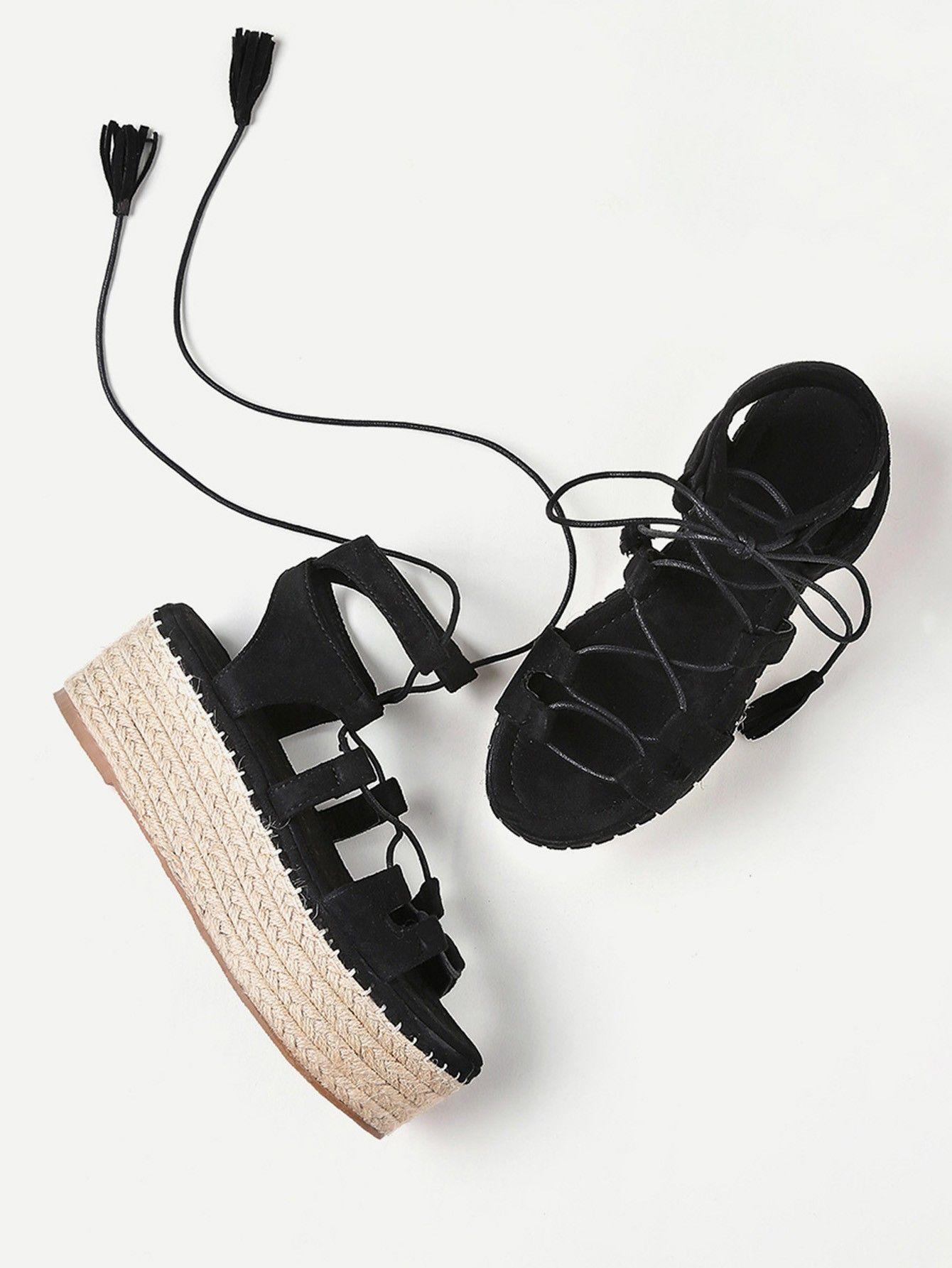 2f5568bbb026 Black Summer Lace Up Espadrille Flatform Sandals With Tassel in 2019 ...
