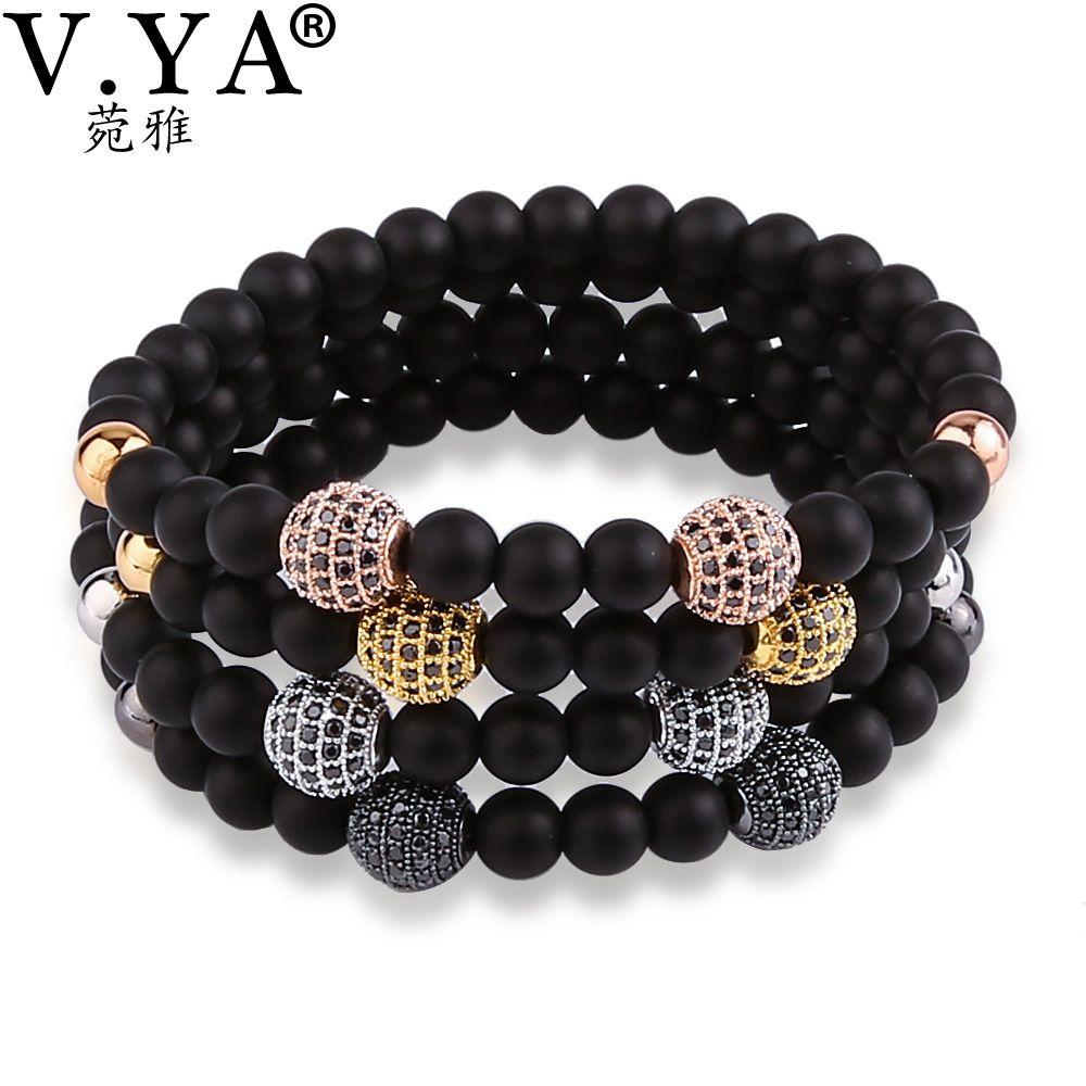 Vya black beads bracelet for menus jewelry watch bracelets with