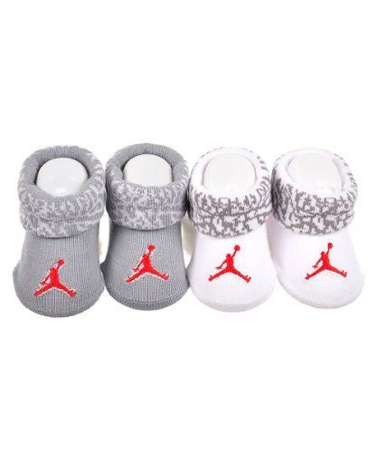 5e3cd918b2151 Nike Jordan Jumpman Booties Socks Grey and White Baby Infant 0-6 ...