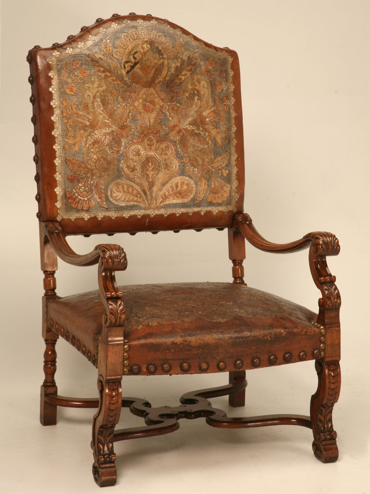 Carved Antique Throne Chair with Original Tooled Leather
