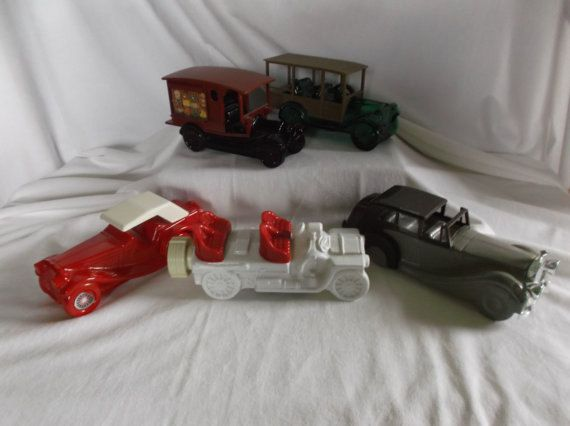 Lot Of 5 Vintage Avon Cars And Truck After Shave Decanter Bottle