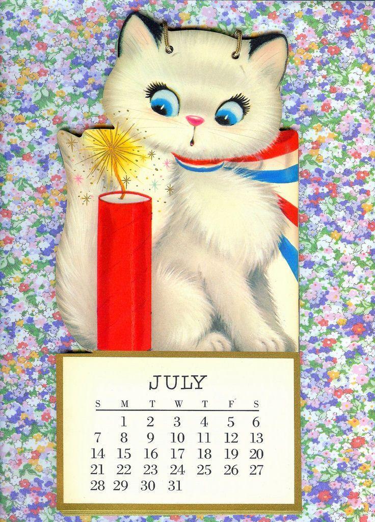 Cute Retro July 4th Cat Vintage Kitsch Fireworks Illustration Calendar Patriotic Vintage Cat Cat Cards Weird Animals