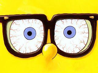 Spongebob With Glasses Big Eyes Minimal Cartoon Wallpaper