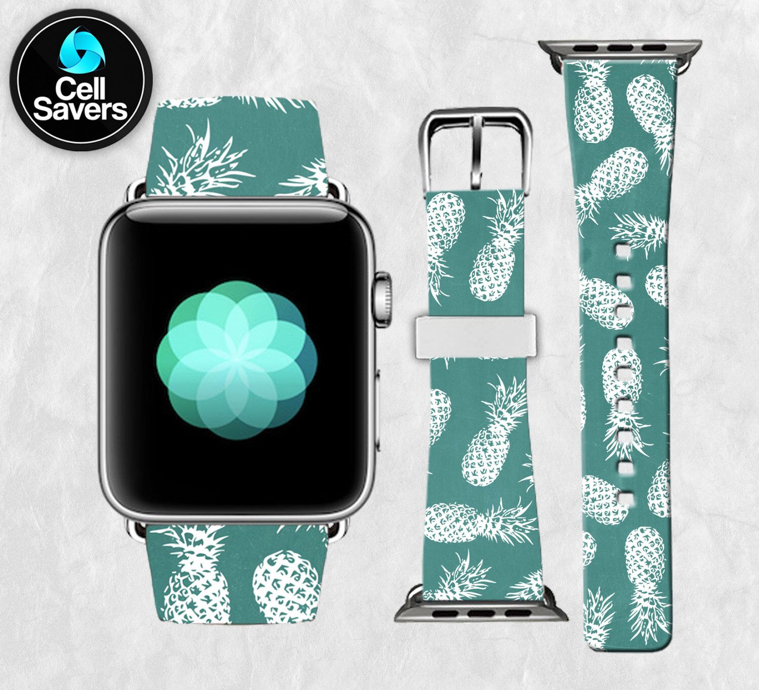 Yes! 42mm size Green Pineapple Pattern White Outline