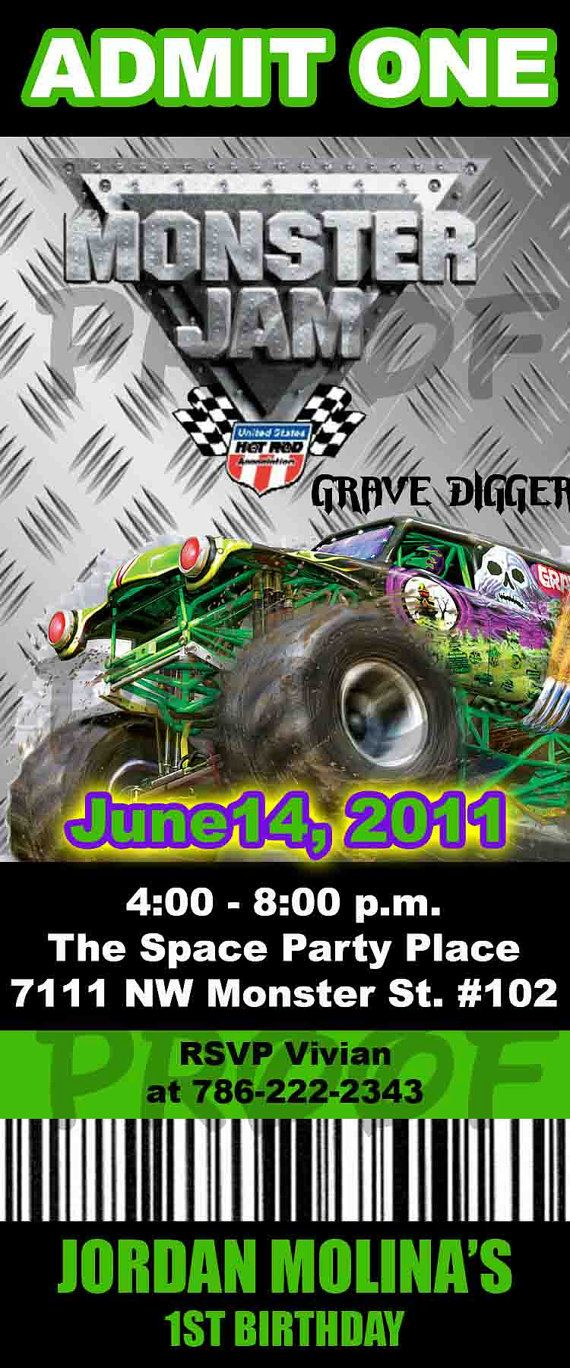invite for 4th bday.. | Party- themes | Pinterest | Monster jam ...