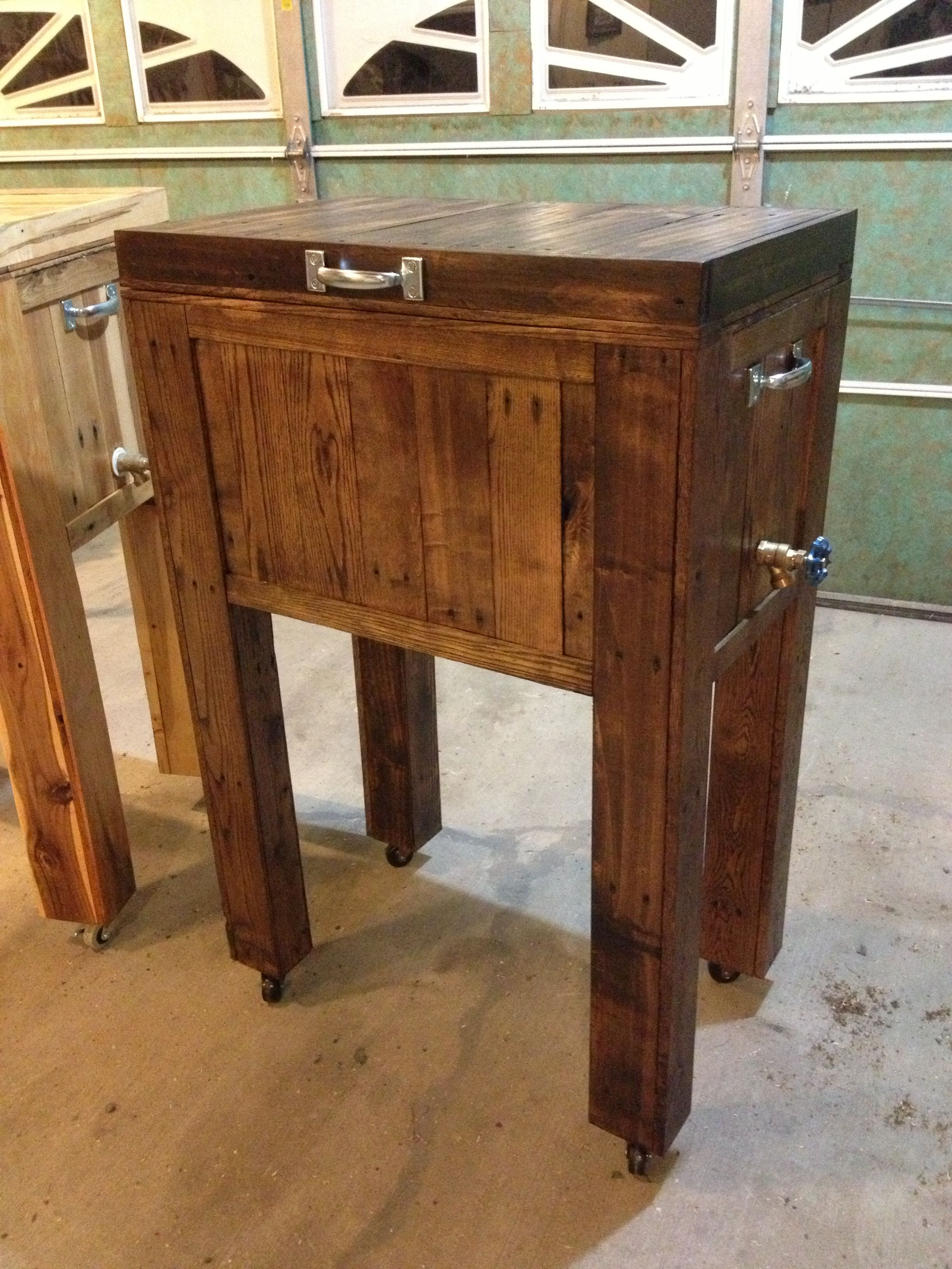 Reclaimed Wood Rustic Home Office: Rustic Home Made Cooler. Reclaimed/pallet Wood. Black