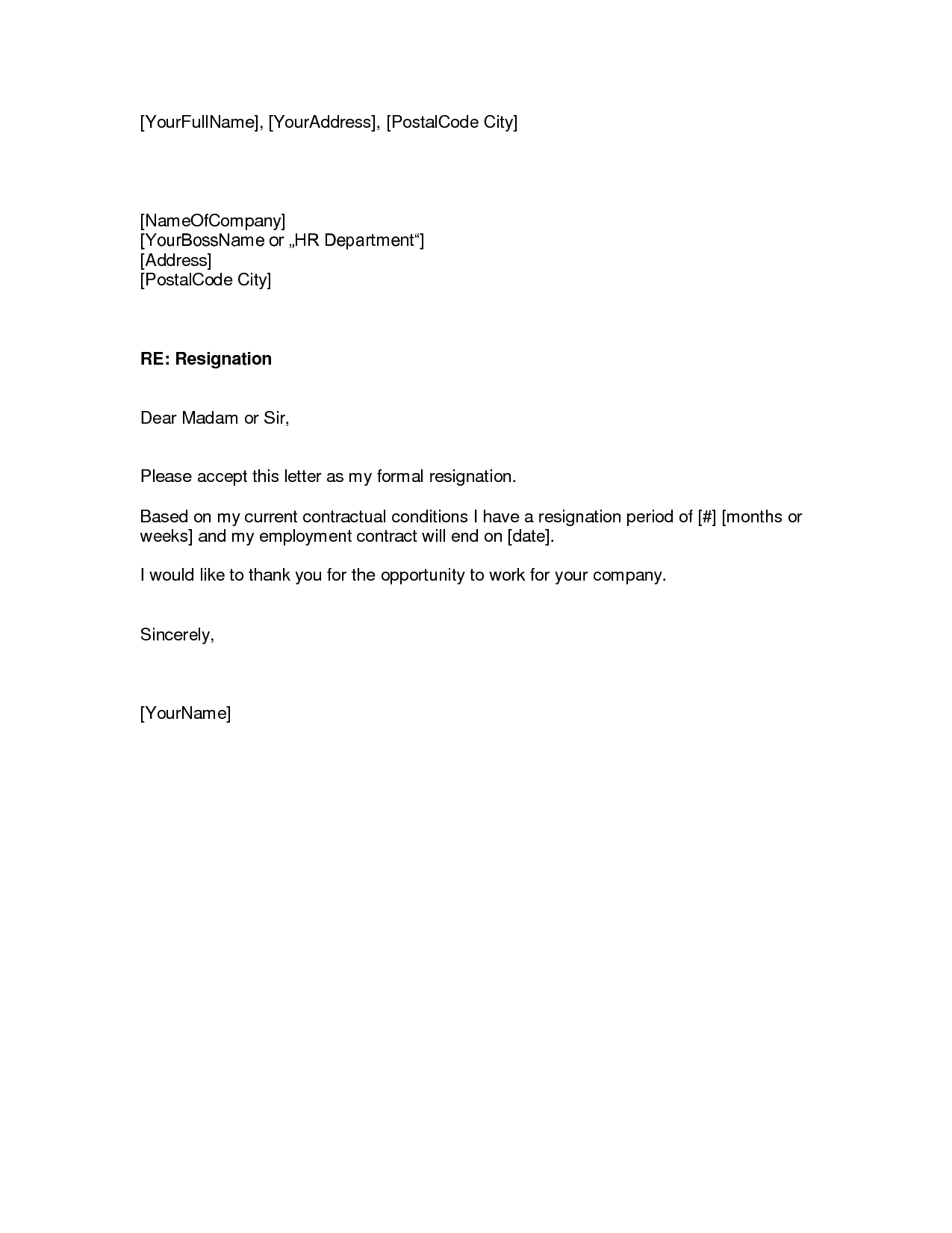 sample of a resignation letter