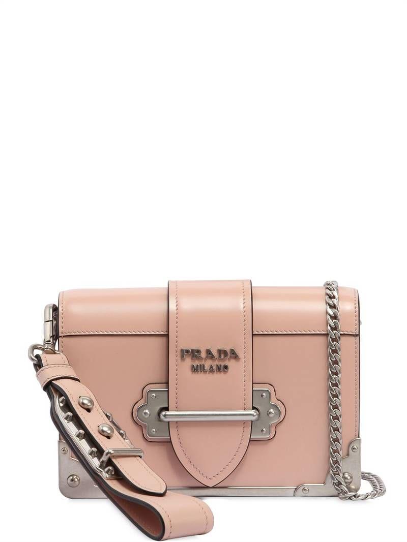 Prada Small Cahier Polished Leather Bag Light Pink