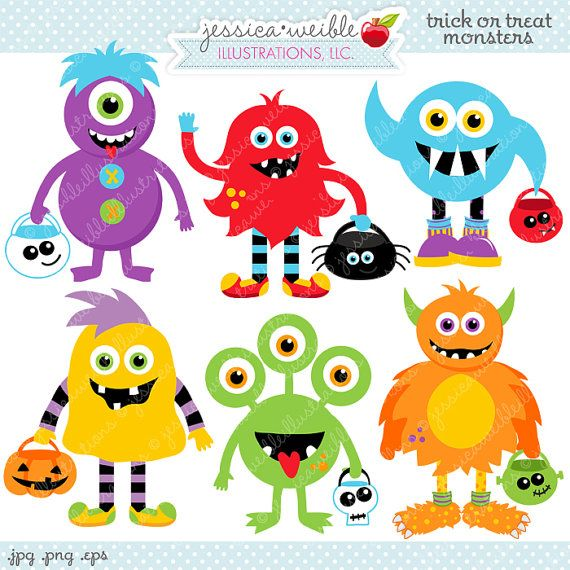 Trick Or Treat Monsters Cute Digital Clipart Commercial Use Etsy In 2021 Felt Halloween Trick Or Treat Halloween Creatures