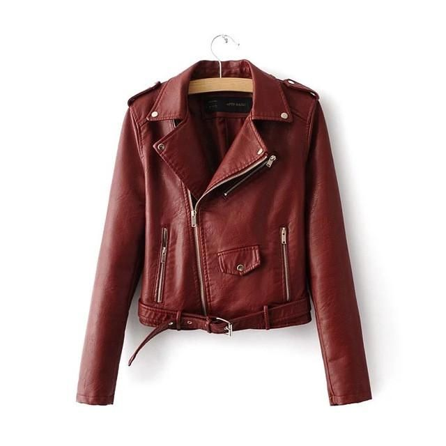 Women Candy Color Faux Leather Short Motorcycle Jacket