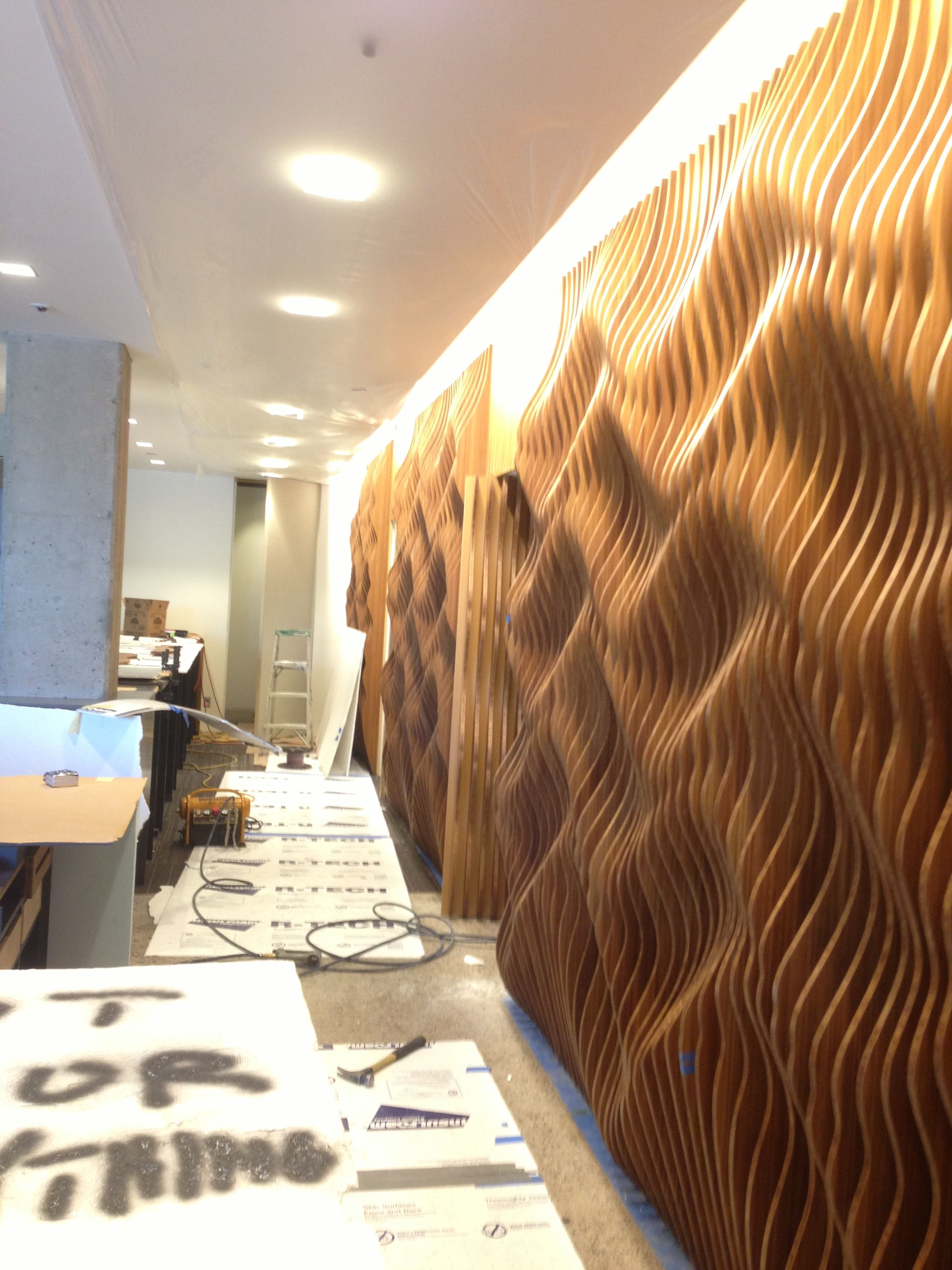 Cnc cut ply boo wood feature wall complete 180degreesinc for Wood walls decorating ideas