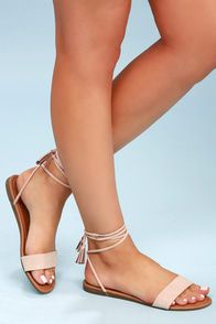 8fc055292ea0e7 White Flat Sandals - White Sandals - Ankle Strap Sandals
