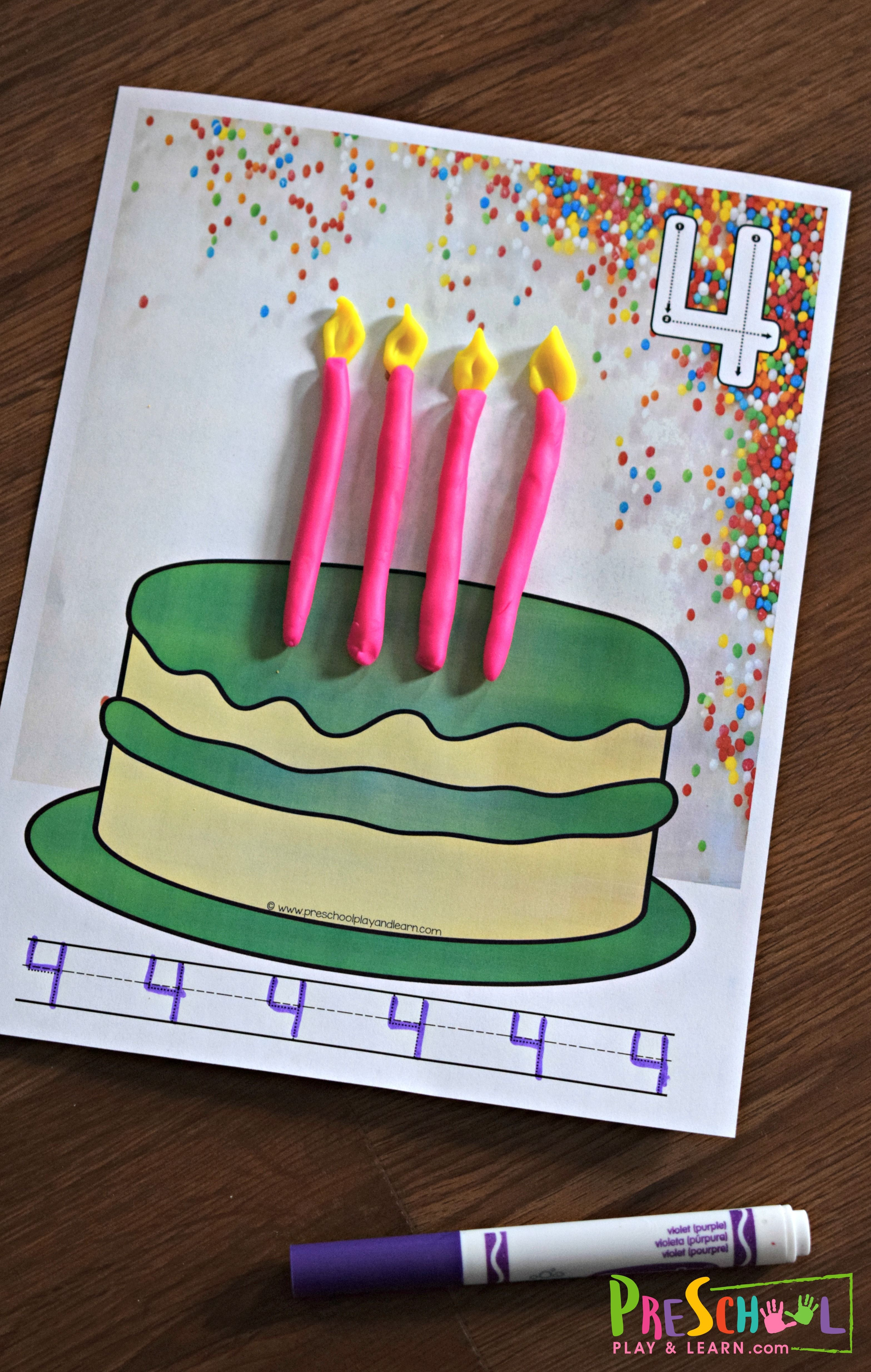 Free Birthday Cake Playdough Mats