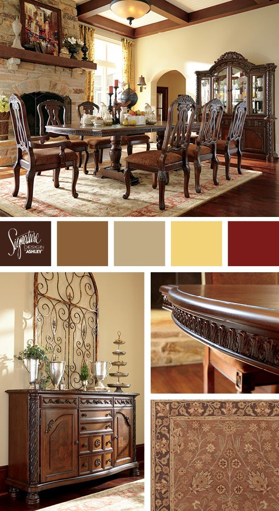 Traditional Old World Style North Shore Dining Room Ashley Furniture Dining Room Decor Traditional Tuscan Dining Rooms Dining Room Furniture Styles