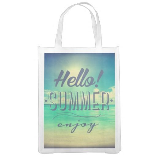 Hello Summer Enjoy Beach Typography Reusable Grocery Bag