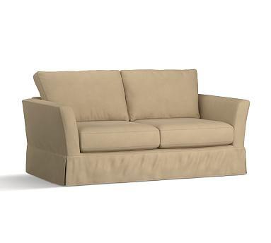 Pb Comfort Fin Arm Poly Everyday Suede Sofa Light Wheat Sofa