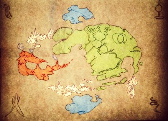 Avatar The Last Airbender World Map by EbbandFlowMarket on Etsy ...