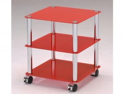 Mesa de apoyo FREIBURG con ruedas - Altura 45 cm - Roja | Venta-Unica