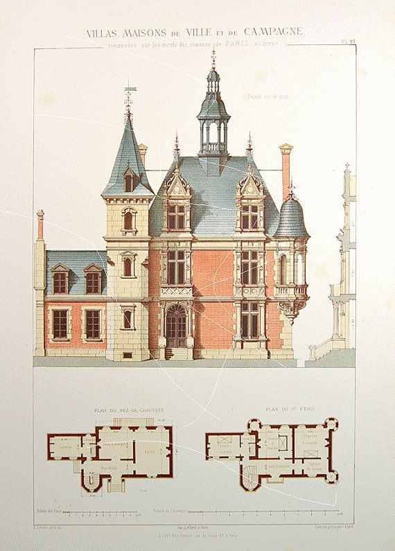 Antique Architectural Print Architecture 1864 by RarePostCards - Dessiner Plan De Maison